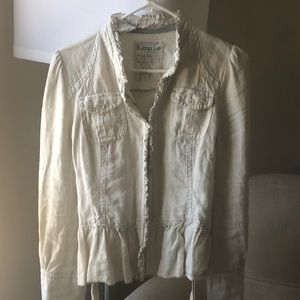 Anthropologie 100% linen jacket with ruffles